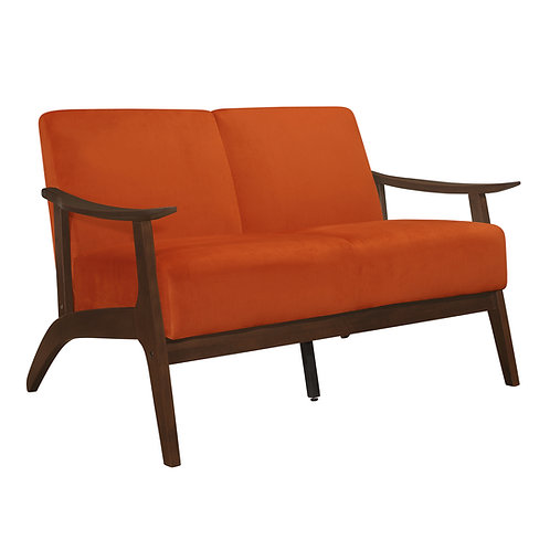 Carlson Henry Mid Century Orange Velvet Loveseat