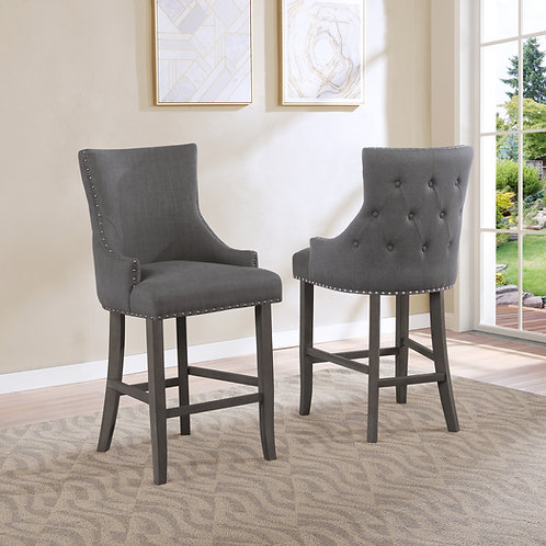 Best BS31 Dark Gray Linen Nailhead Trim & Button-Tufted Back Barstool