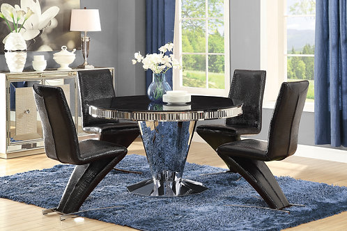 Barzini Cali Round Dining Table Chrome And Black