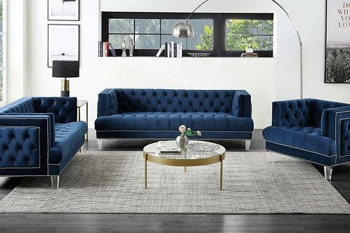 All ANSARIO BLUE VELVET Tufted Acrylic Leg Sofa