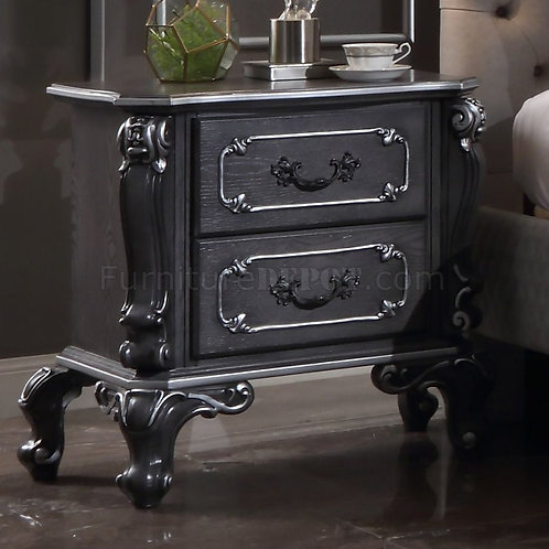 House Delphnie All Traditional Charcoal with Silver Trim Nightstand