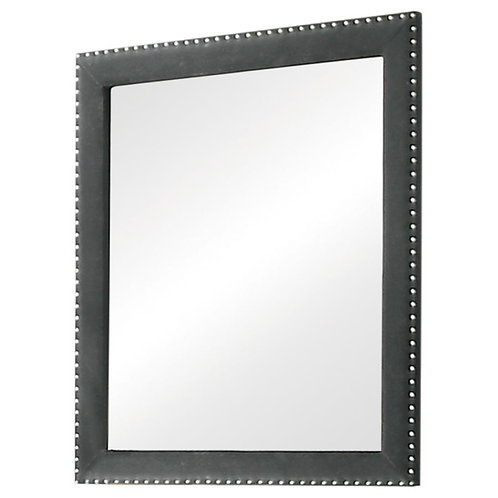 Cali Melody Contemporary Plush Gray Matte Velvet Mirror