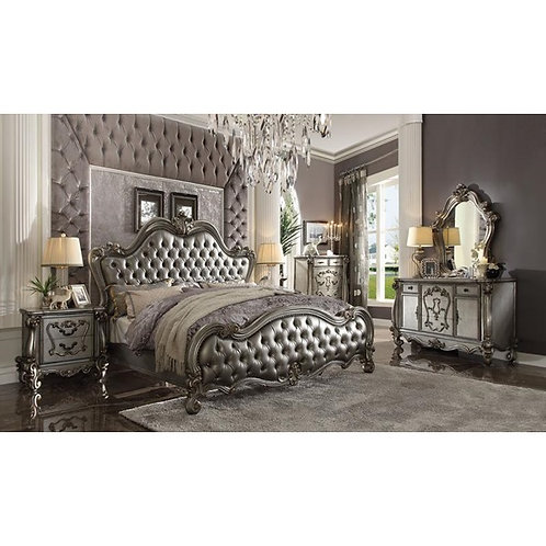 Versailles All Silver PU & Antique Platinum Finish Bed