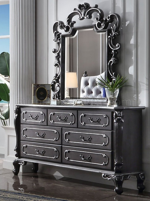 House Delphnie All Traditional Charcoal with Silver Trim Dresser