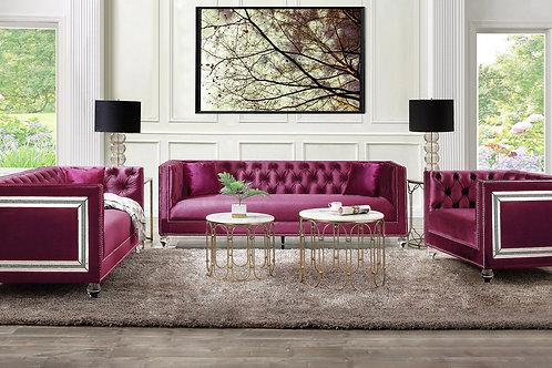 All HEIBERO BURGUNDY Velvet Tufted Mirror Accent Trim Glam Sofa