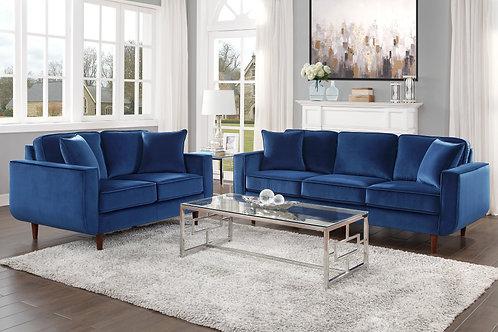 Rand Henry Velvet Mid-Century Navy Sofa