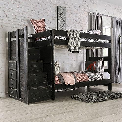 AMPELIOS Imprad Twin/Twin Bunk Bed Rustic Black