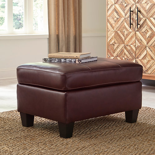 Fortney Angel Mahogany Leather Ottoman