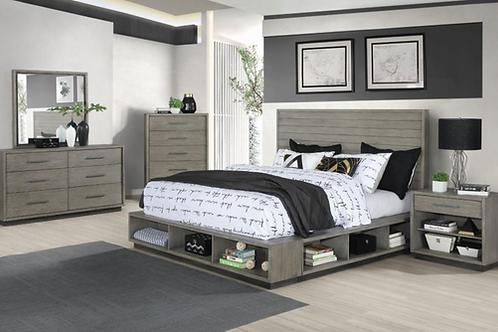 Cali Derbyshire Storage Platform Bed in Grey Oak