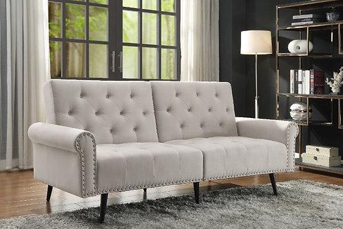 All EIROA 58259 Tufted-Nailheads Beige Fabric Adjustable Sofa