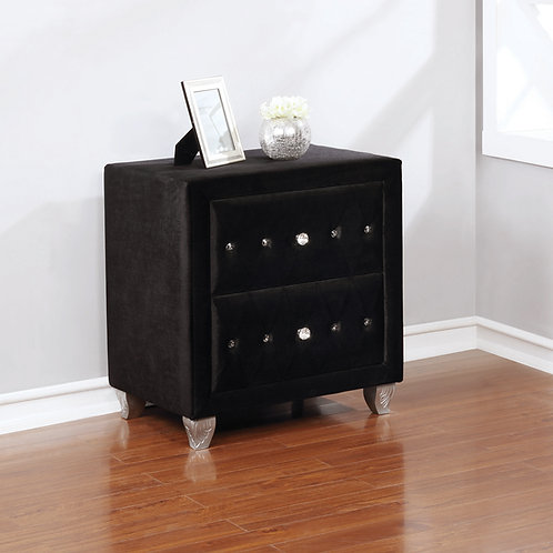 Deanna Cali 2-Drawer Rectangular Nightstand Black