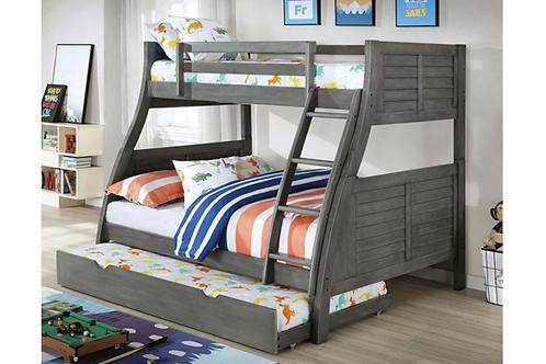 HOOPLE Imprad Twin/Full Gray Bunk Bed w/Trundle