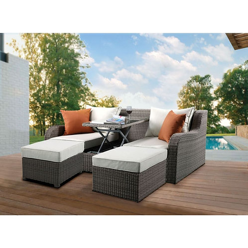 All Salena Patio Sectional & 2 Ottomans - 45010 - Beige Fabric & Gray Wicker