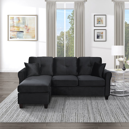 Henry Monty Black Velvet Reversible Sofa Chaise