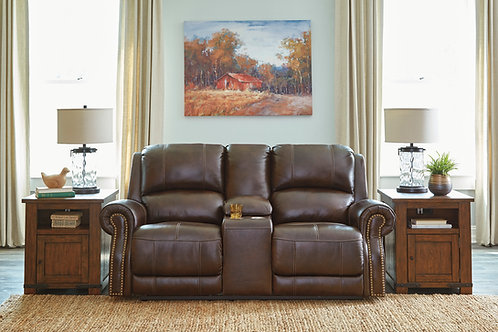 Angel Buncrana Chocolate Genuine Leather PWR Motion Loveseat with Nail Heads