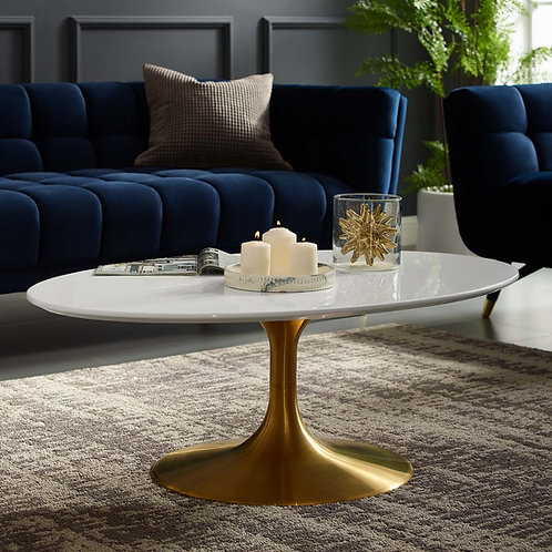 Lippa Mod Oval-Shaped Wood Top Coffee Table in Gold White