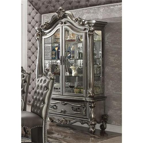 Versailles All Antique Platinum Finish Curio Cabinet