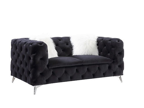 All PHIFINA-55921 Black Velvet Tufted Loveseat