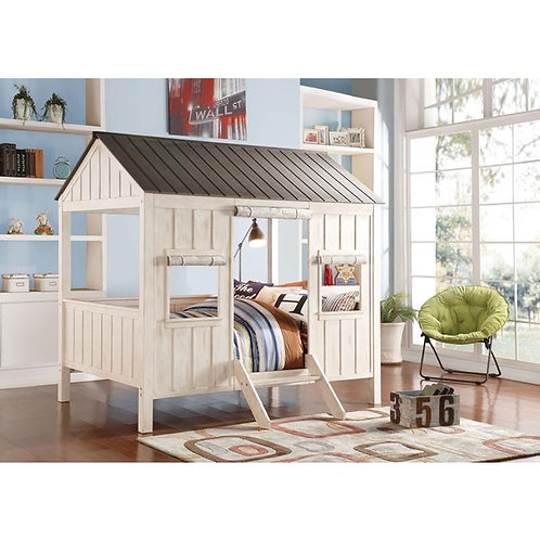 Spring Cottage All White/Gray Finish Bed