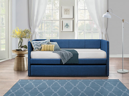 Theres Henry Blue Fabric Daybed w/ Trundle