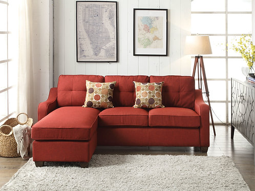 All Cleavon II Sectional Sofa & 2 Pillows Red Linen