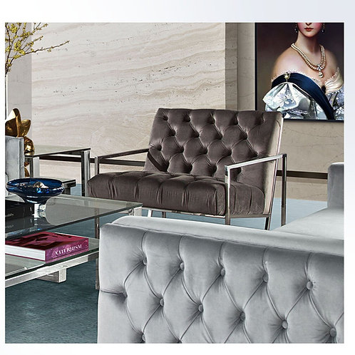 Lux Tufted Dream Dusty Grey Chair w/Polished Stainless Steel Base