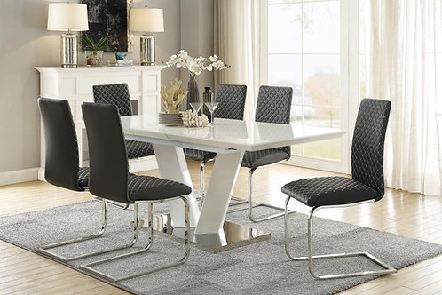 Yannis Henry White Glossy Contemporary Dining Table