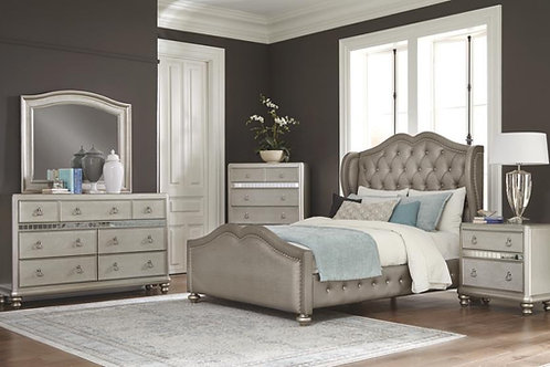Belmont Cali Tufted Upholstered Bed Metallic