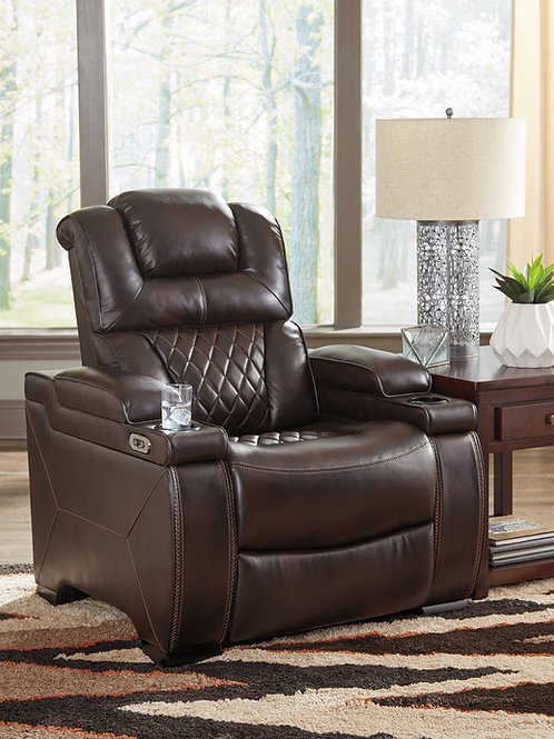 Warnerton Chocolate Angel Power Recliner w/ adj Headrest