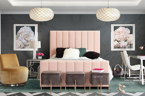 Venus Dream Blush Pink Velvet Bed