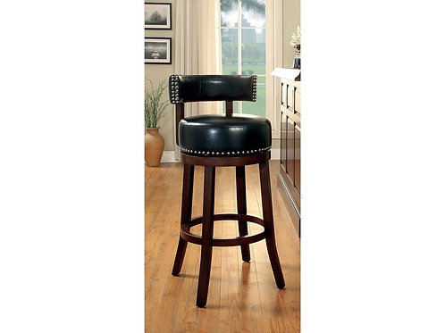 SHIRLEY Imprad 25'' Transitional Black Leatherette w/Nailhhead Counter Ht. Stool