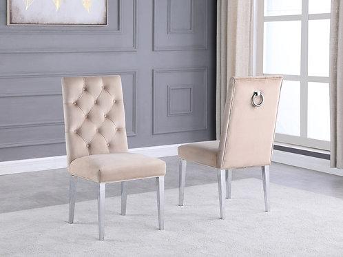 Best Q SC72 Beige Velvet Side Chair