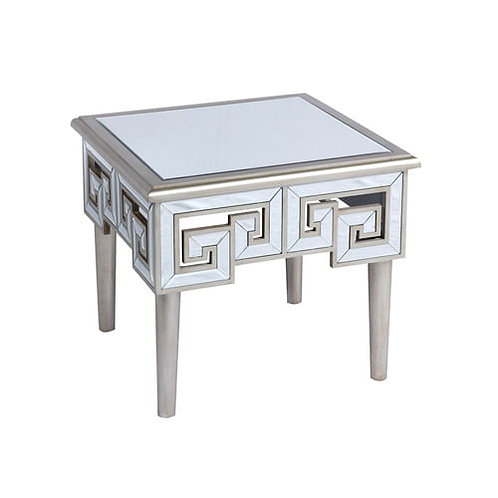 Emeral Heritage Antique Champagne Glam Mirrored End Table