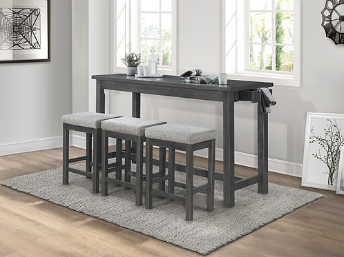 Connected Henry Gray Counter Height Table + 3 Stools