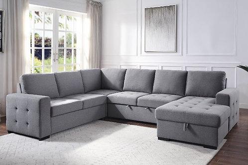 All NARDO Gray Fabric Storage Sleeper Sectional Sofa