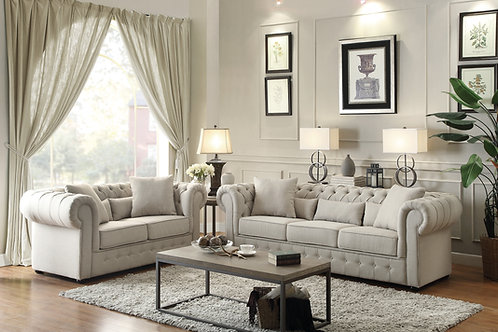 Savonburg Henry Beige Chesterfield Loveseat