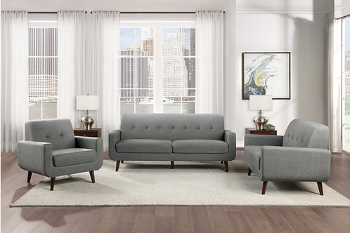 Henry Fitch Gray Textured Fabric Sofa