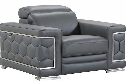 692 Geo Gray Italian Leather Chair