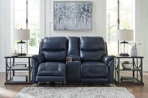 Angel Dellington Dark Blue Leather PWR Reclining Loveseat w/console