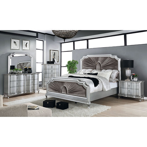 AALOK Imprad Transitional Silver/Gray Bed