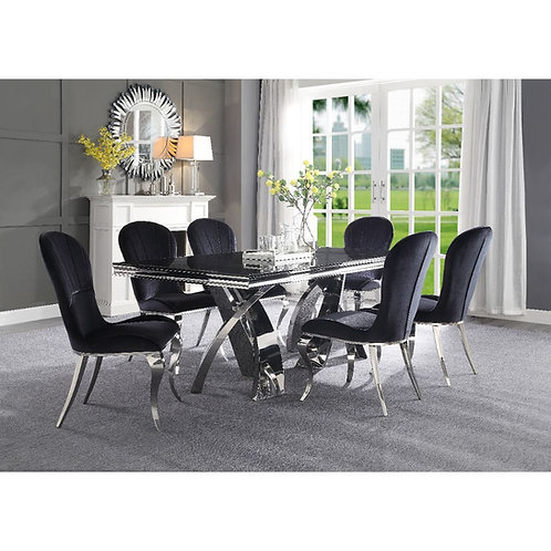 All Geordi 72495 Black Glass and Stainless Steel Dining Table