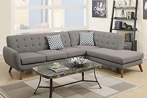 2-Pcs Sectional Sofa Grey Port 6953