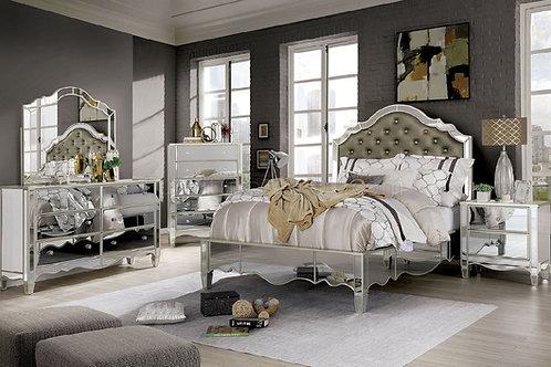 Imprad Eliora Silver Glam Mirrored Bed Frame