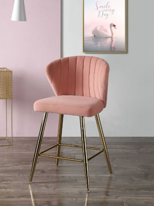 All 96090 RIZGEK Pink Velvet & Gold Finish, Counter Ht. Chair