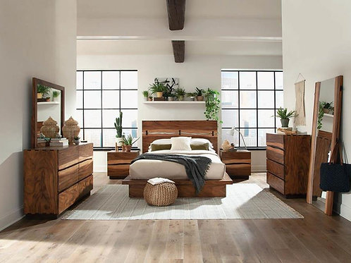 Cali Winslow Contemporary Platform Bed in Smokey Walnut and Coffee Bean