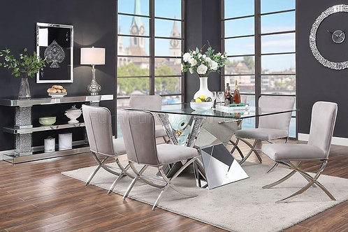 Noralie All Mirrored with Faux Diamonds Glass Top Dining Table