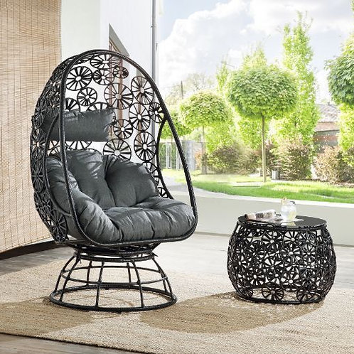 All Patio Charcaol Fabric & Black Wicker Lounge Chair & Side Table - 45113