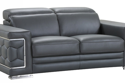 692 Geo Gray Italian Leather Loveseat