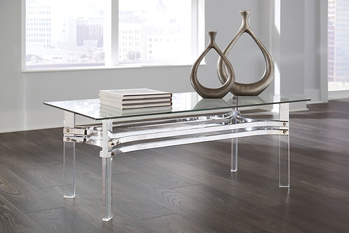 Braddoni Angel Chrome Finish Glass Rectangular Cocktail Table