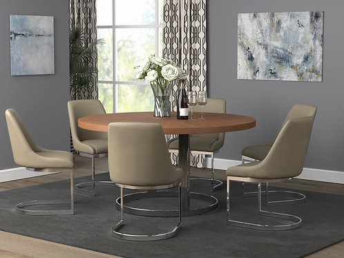 Marino Cali Round Dining Table Natural Cherry And Chrome